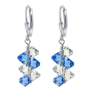 Swarovski Elements Clear & Blue Crystal Women's Handmade Drop Earrings with 925 Sterling Silver Secure Leverback