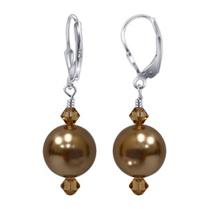 925 Sterling Silver Bronze Pearl Swarovski Elements Crystal Handmade Drop Earrings