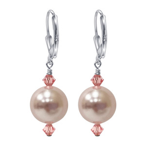 Sterling Silver 11mm Pink Pearl Swarovski Elements Crystal Handmade Leverback Drop Earrings