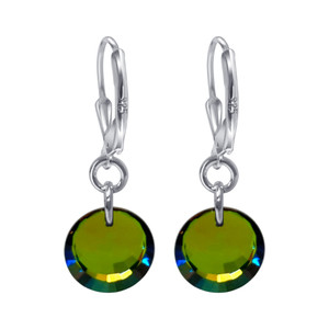 Swarovski Elements Vitrail Medium Crystal Women's Handmade  Leverback Drop Earrings with 925 Sterling Silver