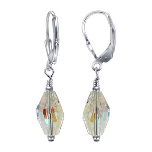 925 Sterling Silver Swarovski Elements Clear Crystal Women's Leverback Drop Earrings