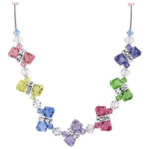 925 Sterling Silver Multicolor Crystal Necklace
