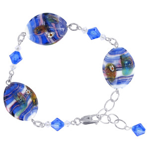 "Millefiori Blue Glass Beads with Swarovski Elements Crystal 925 Silver Bracelet 7 - 9"" Adjustable"