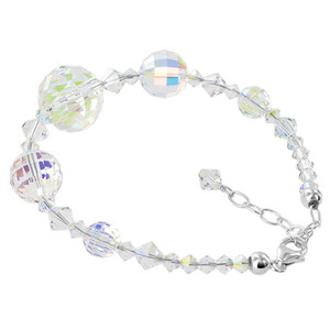925 Silver Swarovski Elements Clear AB Crystal Bracelet