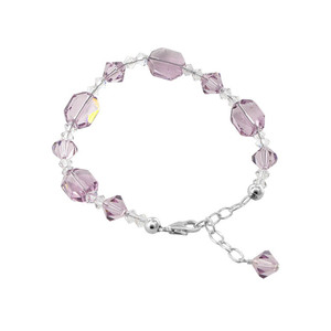 Sterling Silver Swarovski Elements Purple Crystal Bracelet