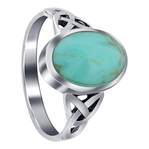 925 Sterling Silver Celtic Ring with Synthetic Turquoise