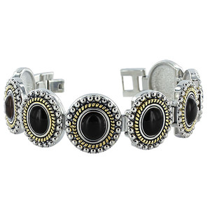 Black Onyx Oval Magnetic Therapy Link Bracelet
