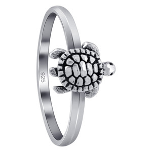 925 Sterling Silver Crawling Turtle Ring