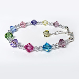 Swarovski Elements Multi Crystal 925 Silver Bracelet