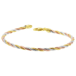Three Tone Twisted Rope Chain Bracelet