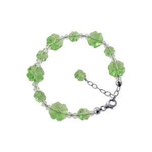 Multi Flower Shaped 925 Silver Green Crystal Bracelet