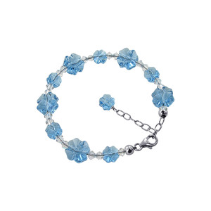 Multi Flower Shaped 925 Silver Blue Crystal Bracelet