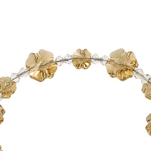 Multi Flower Shaped 925 Silver Yellow Crystal Bracelet