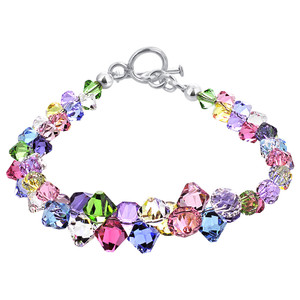 Multicolor Crystal Sterling Silver Bracelet