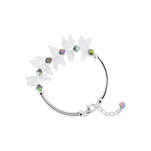 Vitrail AB and Clear Crystal Sterling Silver Bracelet