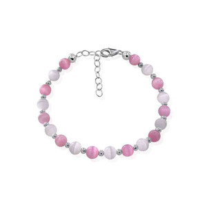 Pink and White Cats Eye 925 Silver Bracelet