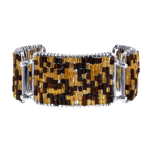 Brown and Gold Glass Beads Silver Tone Link Bracelet Long