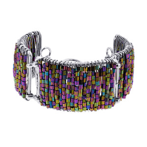 Multicolor Glass Beads Silver Tone Link Bracelet