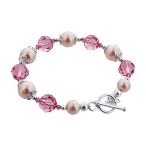 Pink Crystal and Faux Pearl 925 Silver Bracelet