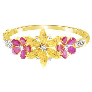 Flower Shape CZ Ruby Glass Gold Plated Bangle Bracelet