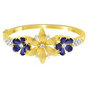 Flower Shape Blue Cubic Zirconia Gold Plated Bangle Bracelet
