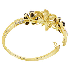 Flower Design Black CZ Gold Plated Bangle Bracelet