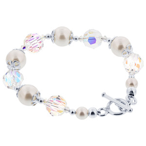 Clear Crystal and Faux Pearl 925 Silver Bracelet