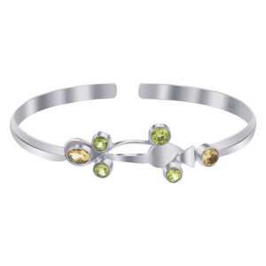 Peridot and Citrine Gemstone 925 Silver Cuff Bracelet