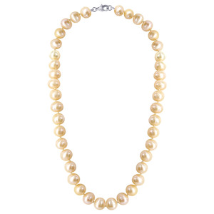Dyed Peach Pearl Beads 925 Silver Necklace