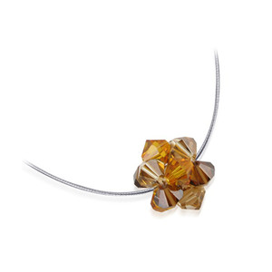 Brown Crystal 925 Silver Omega Chain Necklace