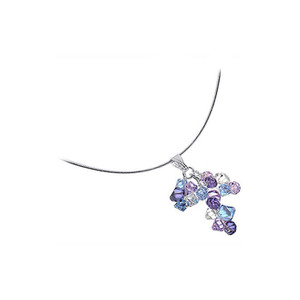 Multi Crystal 925 Silver Omega Chain Necklace