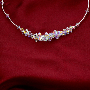 Clear AB Crystal Sterling Silver Necklace