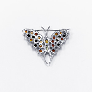 Amber Butterfly Brooch Animal Pin
