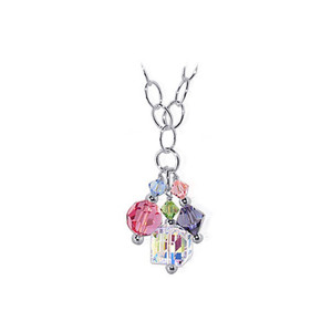 Multicolor Crystal 925 Silver Chain Necklace