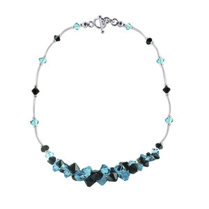 Black and Blue Crystal Sterling Silver Necklace