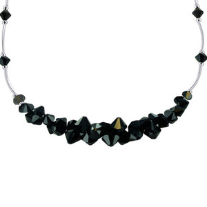 Black Crystal Sterling Silver Necklace