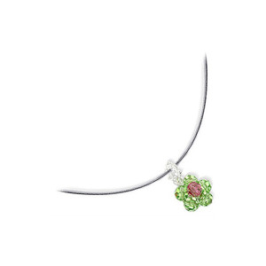 Green Crystal Sterling Silver Omega Chain Necklace