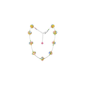 Floral Design Blown Glass Crystal Necklace