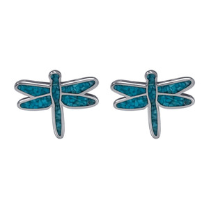925 Sterling Silver Genuine Turquoise Gemstone Dragonfly Earrings