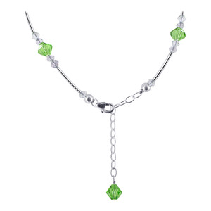 Purple and Green Crystal Sterling Silver Necklace