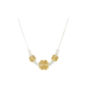Yellow Crystal Sterling Silver Necklace