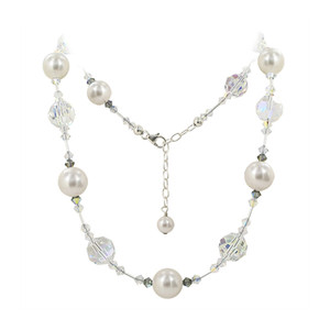Simulated Pearl Clear Crystal Sterling Silver Necklace