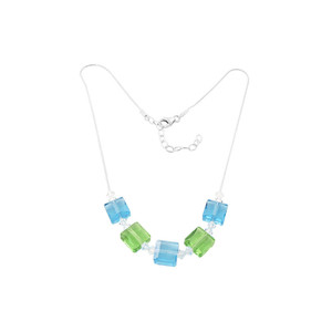 Blue and Green Crystal 925 Silver Necklace