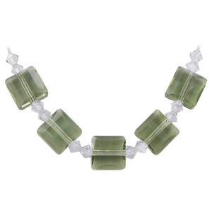 Green Crystal Sterling Silver Necklace