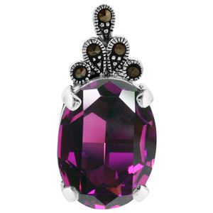 Oval Lavender CZ Cubic Zirconia Sterling Silver Pendant 25 x 12mm with Marcasite