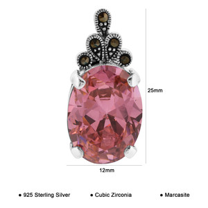 Oval Pink ice CZ Cubic Zirconia Marcasite Sterling Silver Pendant