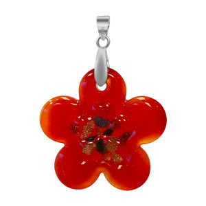 Flower Red Color Floral Designed Thick Glass Stainless Steel Bail Pendant