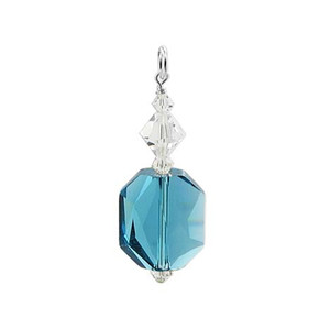 Swarovski Elements Clear & Blue Crystal Sterling Silver Pendant