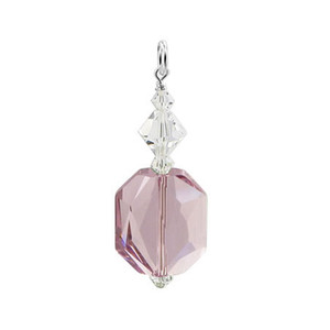 Swarovski Elements Purple & Clear Crystal Sterling Silver Pendant