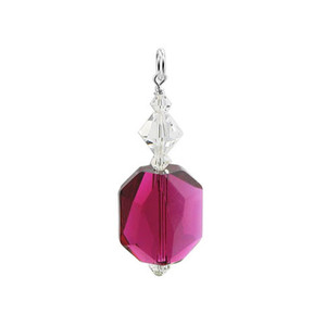 Swarovski Elements Red & Clear Crystal Sterling Silver Pendant
